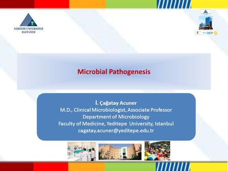 Microbial Pathogenesis İ. Çağatay Acuner M.D., Clinical Microbiologist, Associate Professor Department of Microbiology Faculty of Medicine, Yeditepe University,