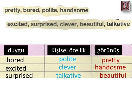 Duygu Kişisel özellik görünüş bored excited surprised polite clever talkative pretty handosme beautiful.