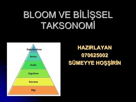 BLOOM VE BİLİŞSEL TAKSONOMİ