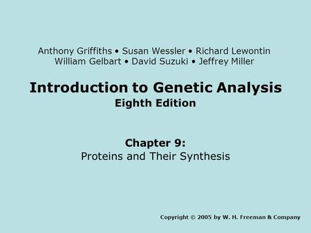 Introduction to Genetic Analysis Eighth Edition Chapter 9: Proteins and Their Synthesis Copyright © 2005 by W. H. Freeman & Company Anthony Griffiths Susan.