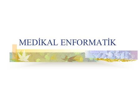 MEDİKAL ENFORMATİK. Medical informatics Health informatics.
