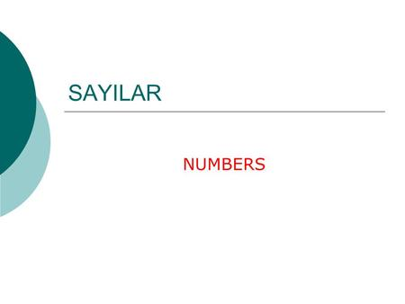 SAYILAR NUMBERS. SAYILAR 77 55 66 99 11 33 88.