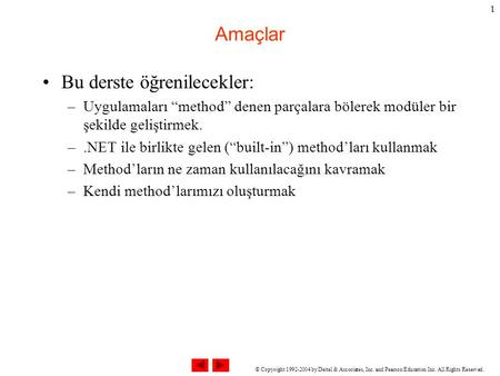 "© Copyright 1992-2004 by Deitel & Associates, Inc. and Pearson Education Inc. All Rights Reserved. 1 Amaçlar Bu derste öğrenilecekler: –Uygulamaları ""method"""