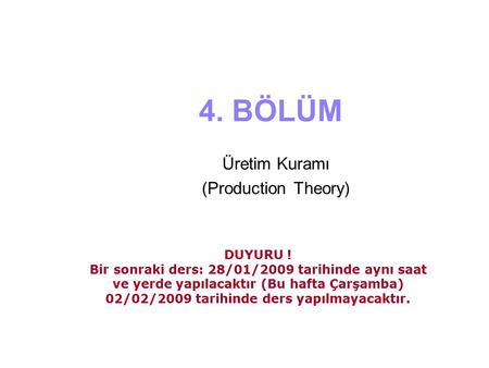 Üretim Kuramı (Production Theory)