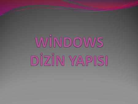 WİNDOWS DİZİN YAPISI.