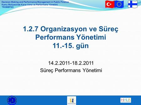 Decision Making and Performance Management in Public Finance Kamu Maliyesinde Karar Alma ve Performans Yönetimi TR08IBFI03 1.2.7 Organizasyon ve Süreç.