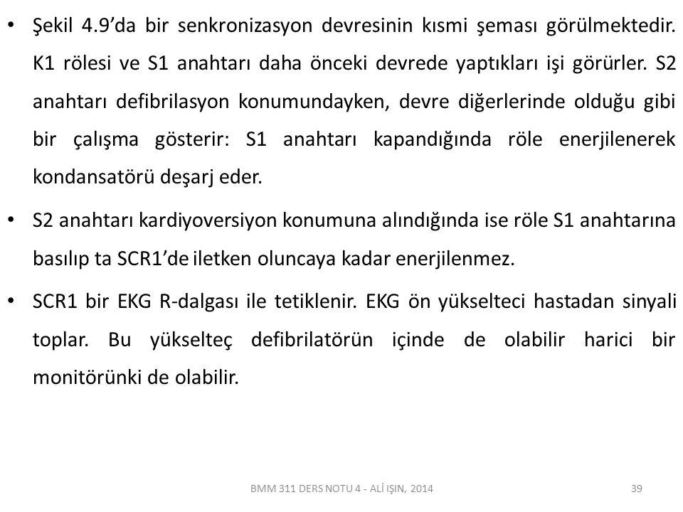 BMM 311 DERS NOTU 4 - ALİ IŞIN, 2014 Şekil 4.9 Bir kardiyoverterin blok şeması 40