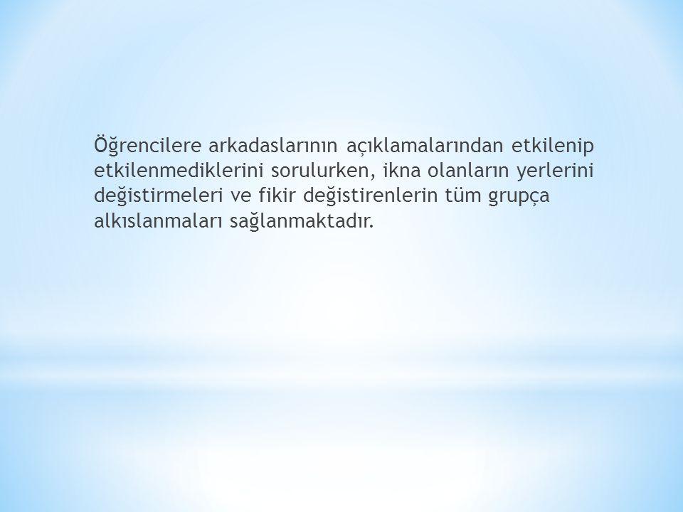 * Örnek olarak vermek gerekirse Lozan Antlasması konusu islenirken İsmet İnönü'nün Türkiye Cumhuriyeti'nin Antlasmadan faydaları ile ilgili görüsü üzerinde bu yöntem uygulanmıs ve 5/B sınıfında söyle bir dağılım ortaya çıkmıstır: GÖRÜS: Türkiye Cumhuriyeti Boğazlar konusunda faydalı bir antlasma yapmıstır. * Kesinlikle katılıyorum diyen 3 öğrenci * Kesinlikle katılmıyorum diyen 2 öğrenci * Katılıyorum diyen 8 öğrenci * Katılmıyorum diyen 7 öğrenci * Fikrim yok diyen 4 öğrenci