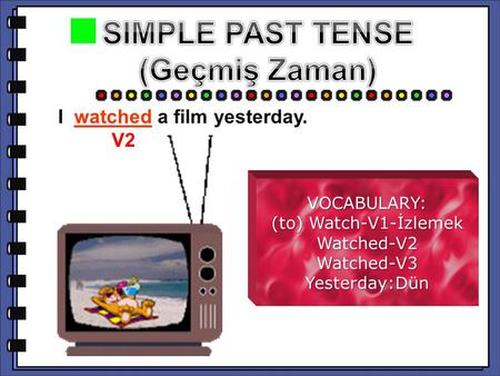 I a film yesterday. I watched a film yesterday. V2 V2 VOCABULARY: (to) Watch-V1-İzlemek Watched-V2Watched-V3Yesterday:Dün.
