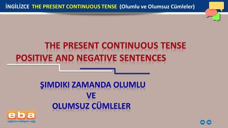 THE PRESENT CONTINuOUS TENSE POSITIVE aND NEGATIVE SENTENCES