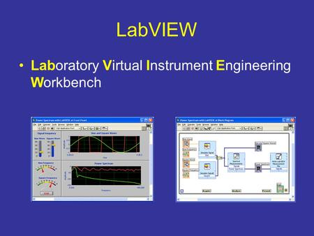 LabVIEW Laboratory Virtual Instrument Engineering Workbench.