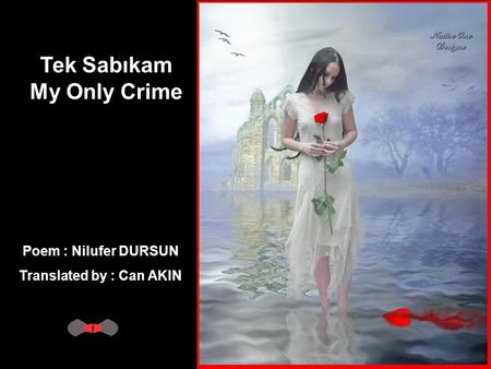 Tek Sabıkam My Only Crime Poem : Nilufer DURSUN Translated by : Can AKIN.