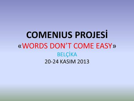 COMENIUS PROJESİ «WORDS DON'T COME EASY» BELÇİKA 20-24 KASIM 2013.