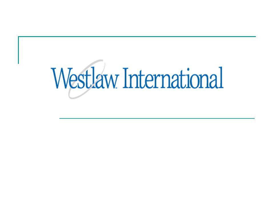 Dünya çapında 60'dan fazla ülkede kullanılan Westlaw International; Hukuk DergileriOnline hukuk kitapları Gazete ve iş çevreleri yayınları Yasalar, içtihatlar ve mahkeme kararları Haber kaynakları Ekonomi kaynakları İş geliştirme bilgi kaynakları Diğer duruşma bilgileri Formlar Anlaşmalar Avrupa Topluluğu materyalleri Avukatlık materyalleri Hukuki haberler Firmalara dair bilgiler
