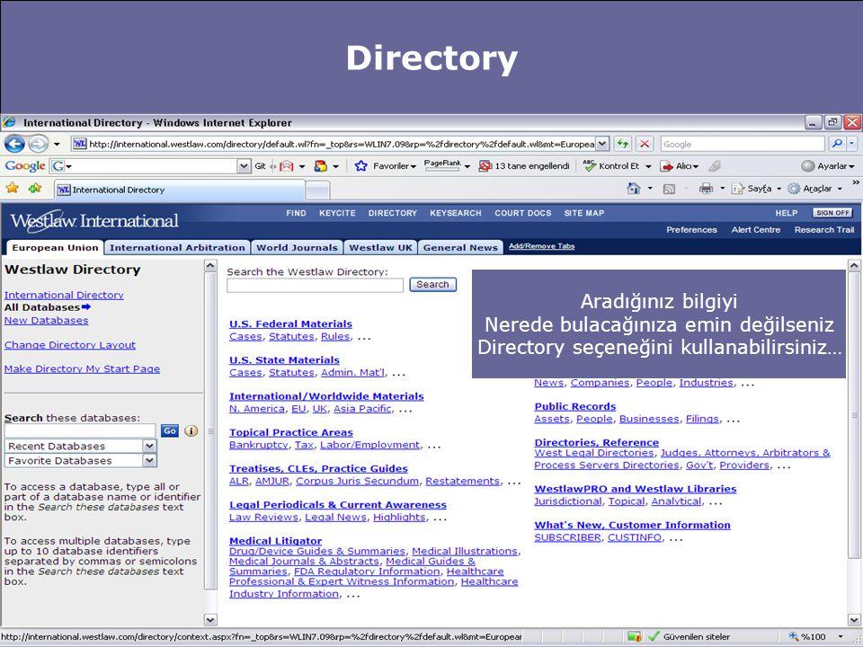 Directory Türkiye ile ilgili hangi kaynaklar yer alıyor.