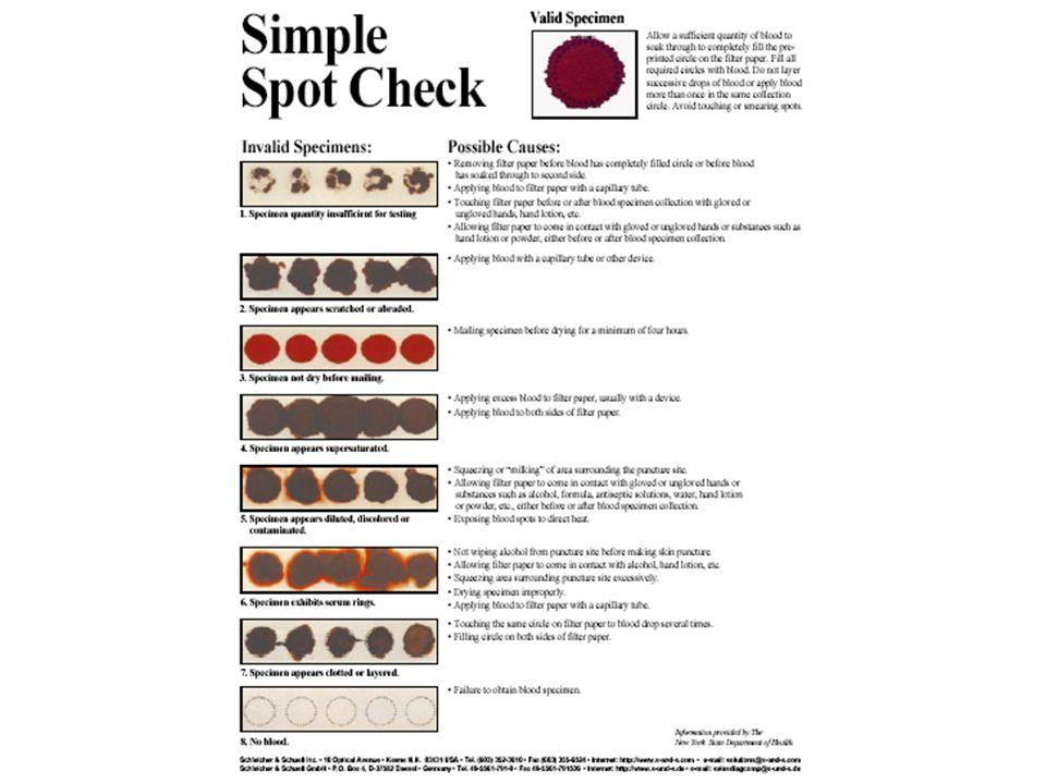 YETERLİ ÖRNEK  YETERLİ ÖRNEK Taramaya uygun kan örneğinin çapı 6 mm.den küçük olmamalı KAĞIDIN ARKA YÜZÜ Kan Örneği kağıdın arka yüzüne de geçmiş olmalı