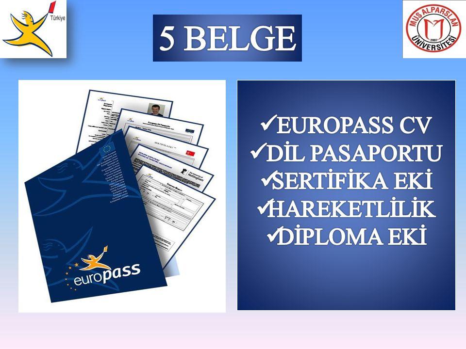 Europass Dokümanları Kişinin doldurabileceği belgeler Europass Özgeçmiş (CV) Europass Dil Pasaportu Yetkili kurumlar tarafından doldurulan belgeler Europass Sertifika Eki Europass Hareketlilik Europass Diploma Eki