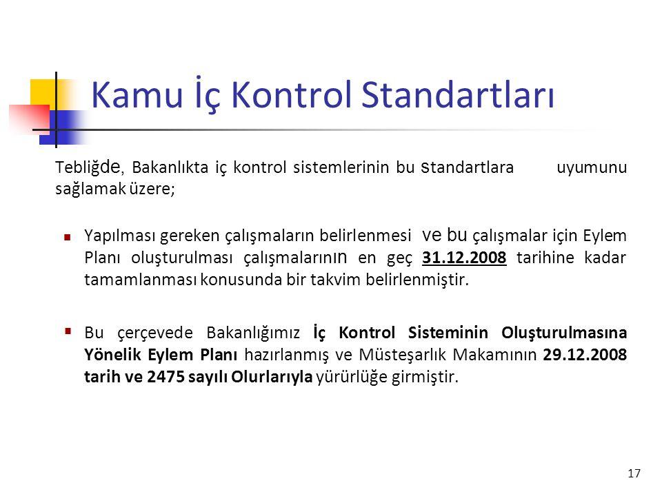 18 Kamu İç Kontrol Standartları  İç kontrol sisteminin uygulama esnasında başvurduğu temel ilkelerdir.