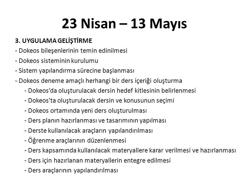 23 Nisan – 13 Mayıs 3.
