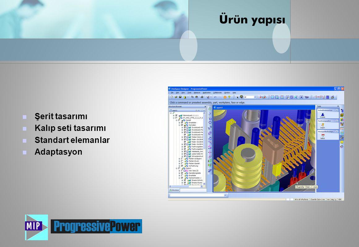 Nisan 2008  Şerit yerleşiminin hesaplanması  Otomatik parça özellikleri tanınması (parça analizi)  İstasyonların otomatik hesaplanması  Zımbaların şerit üzerine yerleştirilmesi  İstasyon değiştirme ve ekleme  Şerit işlemesinin 3 boyutlu simulasyonu Şerit tasarımı