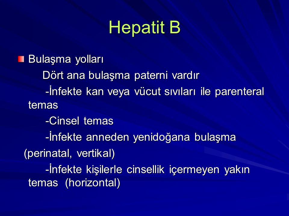 Hepatit B Parenteral bulaşma -Çoğul transfüzyon yapılan hastalar (onkoloji koğuşu hastaları, thalassemia major hastaları) -Çoğul transfüzyon yapılan hastalar (onkoloji koğuşu hastaları, thalassemia major hastaları) -Hemodiyaliz hastaları -Hemodiyaliz hastaları -Damariçi uyuşturucu bağımlıları -Damariçi uyuşturucu bağımlıları -Dövme yaptıranlar -Dövme yaptıranlar -Sağlık personeli -Sağlık personeli