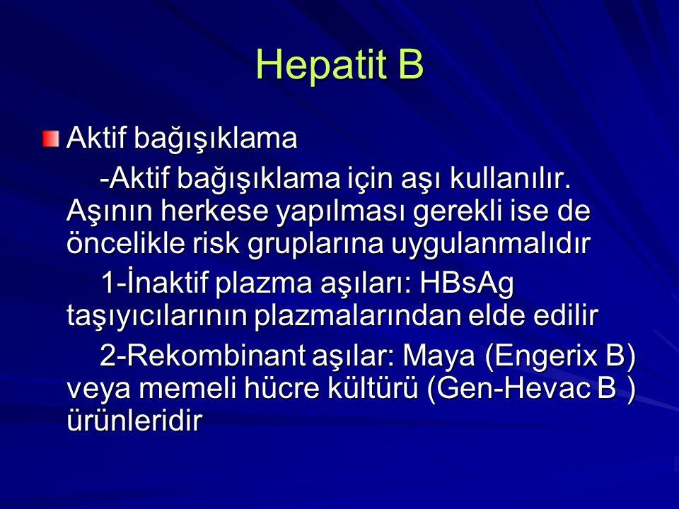 Hepatit B Rekombinant DNA tekniği ile hazırlanan hepatit B aşıları emniyetlidir %95-98 oranında koruyucu anti HBs oluştururlar Enaz 5 yıl koruma sağlanmaktadır Aşı deltoid kasa veya 2 yaşından küçük çocuklara uyluğun anterolateral bölgesine intramuskuler olarak yapılmalıdır