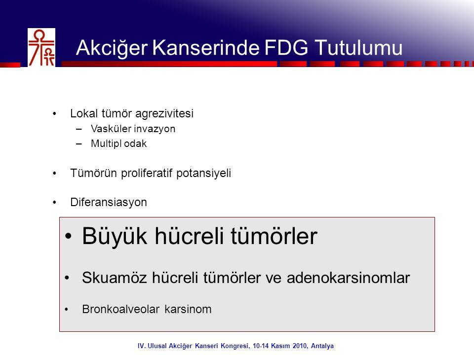 28/32 IV. Ulusal Akciğer Kanseri Kongresi, 10-14 Kasım 2010, Antalya •FDG PET (+)(-)