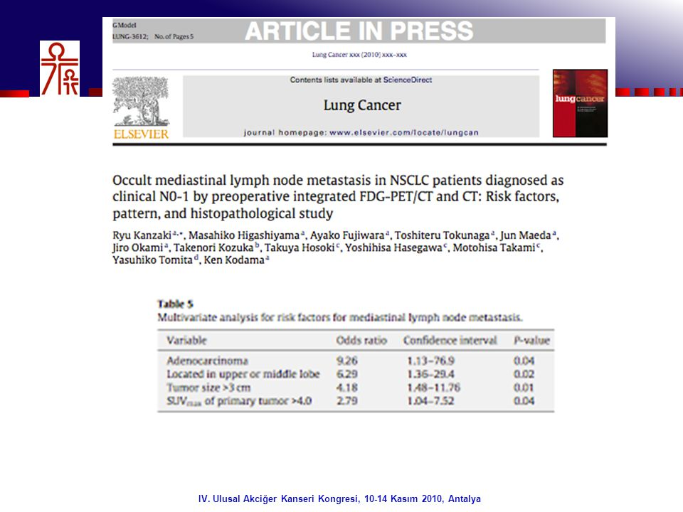 32/32 Mediastinal Yeniden Evreleme FDG PET Akciğer Kanserinde sadece evreleme/yeniden evreleme aracı değildir .