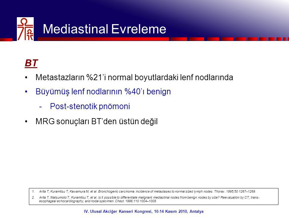5/32 Mediastinal Evreleme FDG PET •Mediastinal evrelemede en doğru noninvaziv yöntem •Mediasten için yüksek NPV (%96) •İnflamatuar değişiklikler nedeniyle FP sonuçlar •RT uygulaması •Pozitif olgularda invaziv değerlendirme IV.
