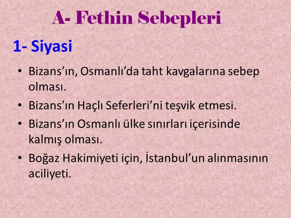 A- Fethin Sebepleri 1- Dini • Fetih'le ilgili Hadis-i Şerif'ler.