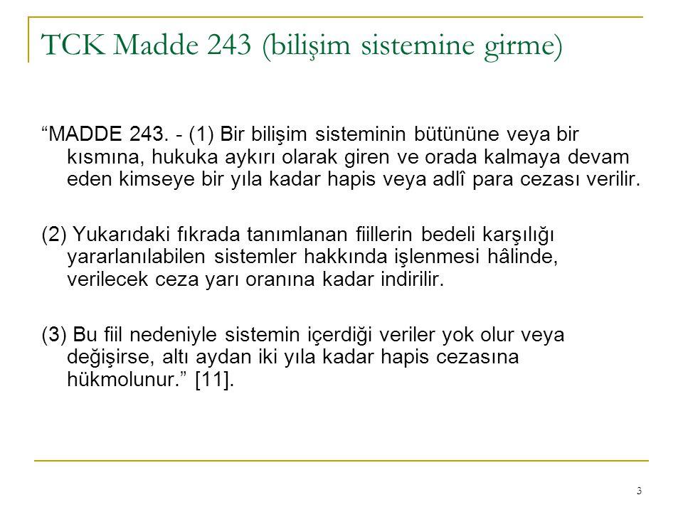 4 TCK Madde 244 (sistemi engelleme, bozma, verileri yok etme veya değiştirme) (1) Bir bilişim sisteminin işleyişini engelleyen veya bozan kişi, bir yıldan beş yıla kadar hapis cezası ile cezalandırılır.