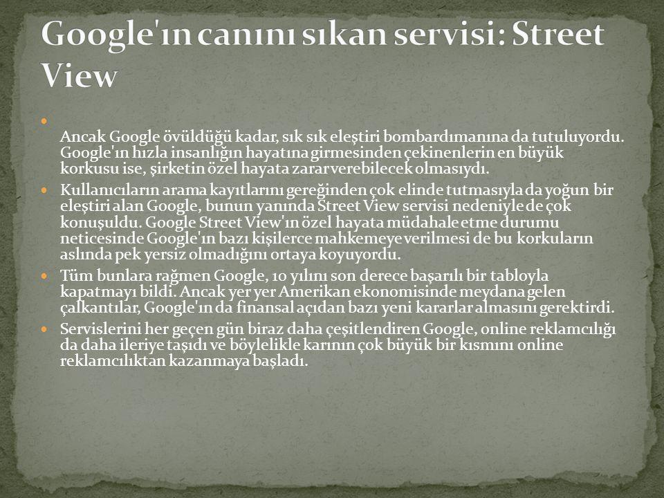  Web arama motoruyla yetinmeyen ve büyüme ivmesini 10 yıl içinde hiç kaybetmeyen Google, sunduğu yeni servislerle de kullanıcılarını dört bir yandan elinde tutmanın gayreti içerisine girdi.
