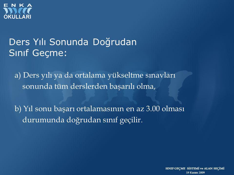 SINIF GEÇME SİSTEMİ ve ALAN SEÇİMİ 19 Kasım 2009  2.