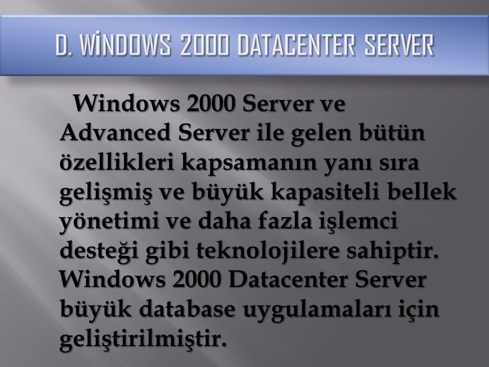 OLAP, OLTP uygulamaları, ISP ve Web sunucusu olarak da kullanılabilecek özelliklere sahip olan Datacenter Server 32 işlemci ve 64 GB ana belleği (maksimum) destekler.