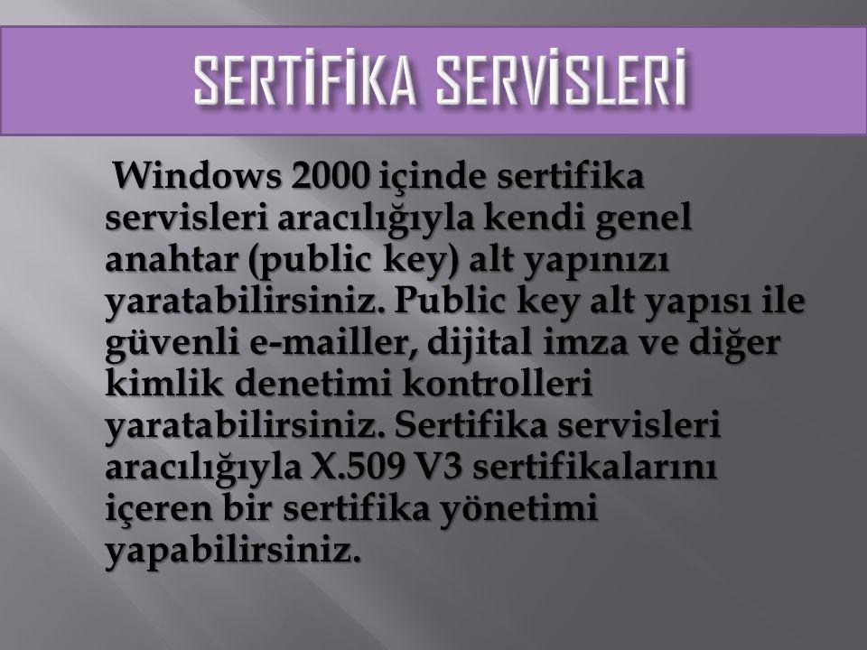 Server clusterları (kümeler) birden çok Windows 2000 çalıştıran sunucu işletimini birleştirerek kullanıcıların kaynakları kesintisiz olarak kullanmasını sağlar.
