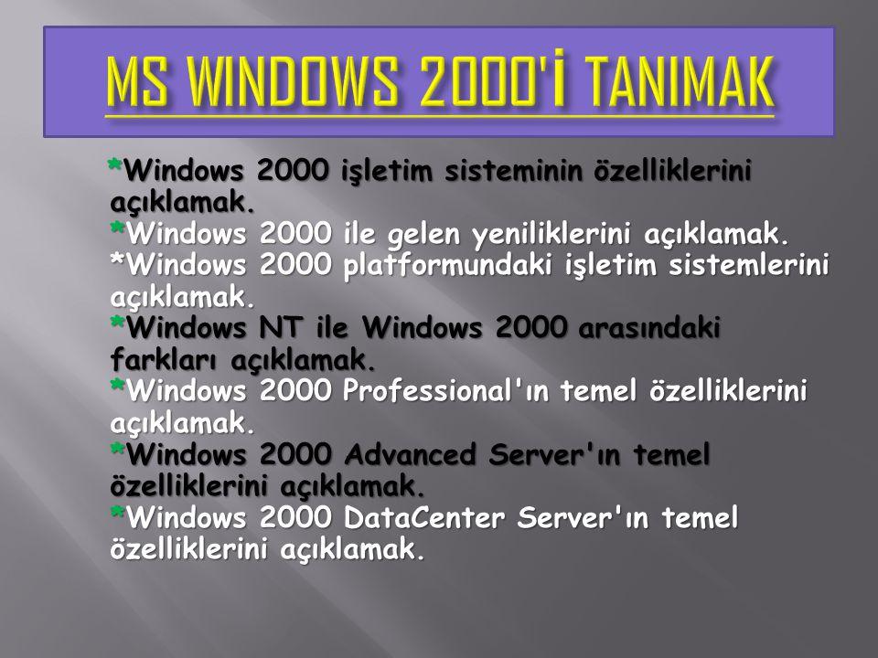 *Microsoft Windows 2000, Microsoft tarafından geliştirilmiş, kurumsal, güvenilir, ölçeklenebilir, geniş kurulum olanaklarına ve çok sayıda yönetim aracına sahip yeni ve güçlü bir işletim sistemidir.