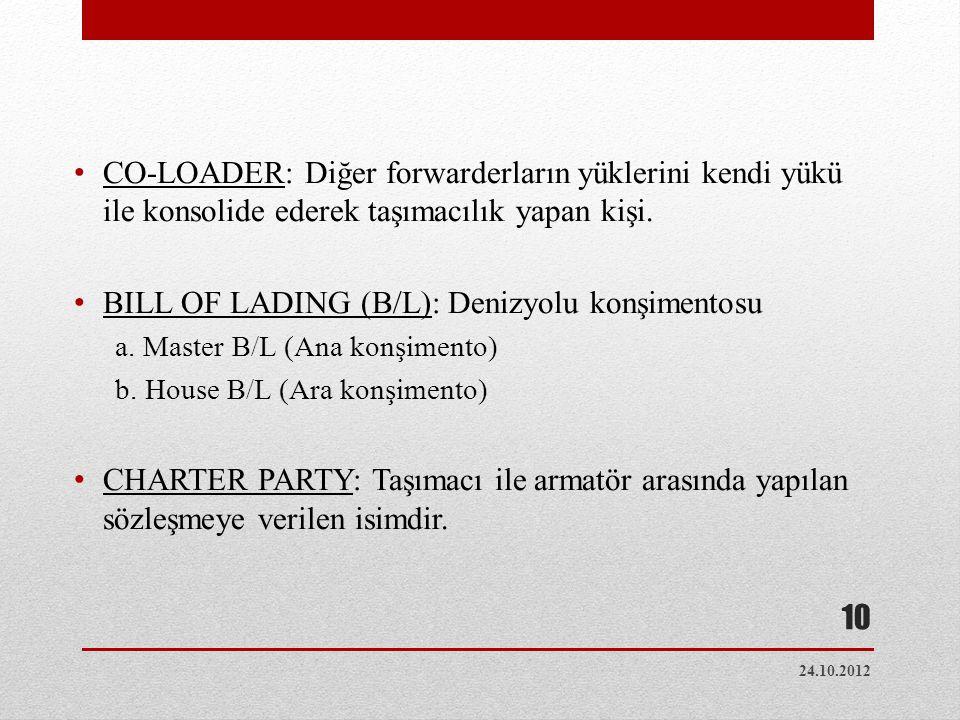 Yükleme Boşaltma Terimleri • FREE IN (FI): Limandaki yükleme masrafı • FREE OUT (FO): Limandaki boşaltma masrafı • LINER IN (LI): Yükleme masrafının armatöre ait olması • LINER OUT(LO): Boşaltma masrafının armatöre ait olması 24.10.2012 11