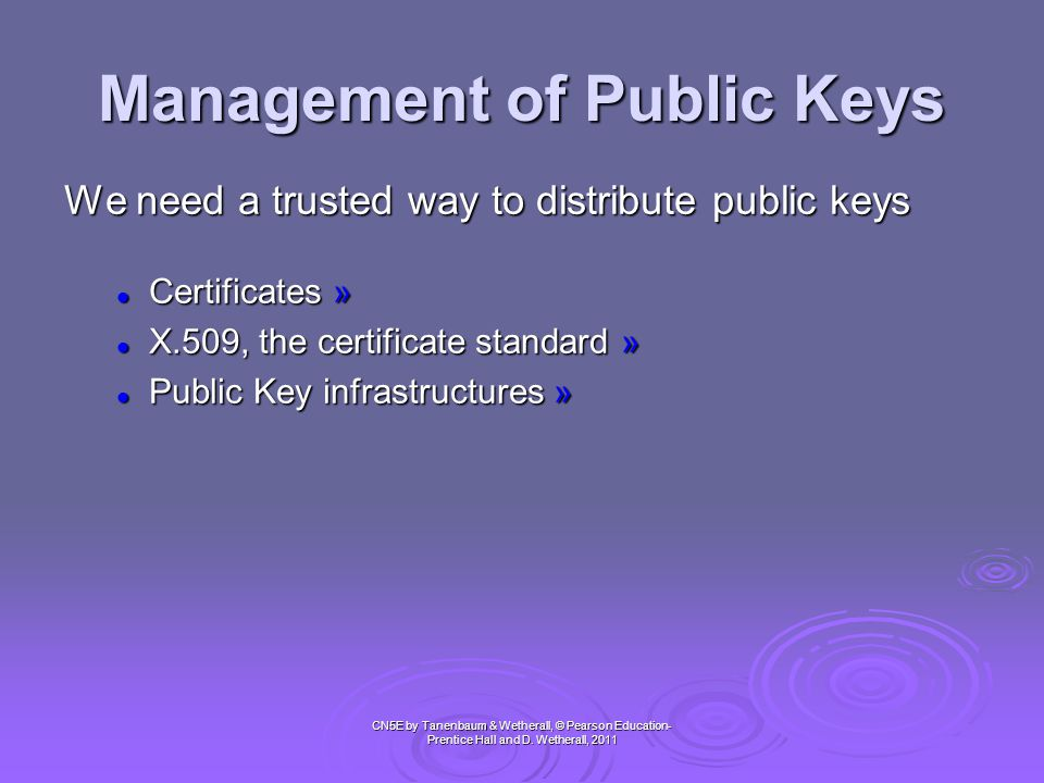 Management of Public Keys (1) CN5E by Tanenbaum & Wetherall, © Pearson Education- Prentice Hall and D.