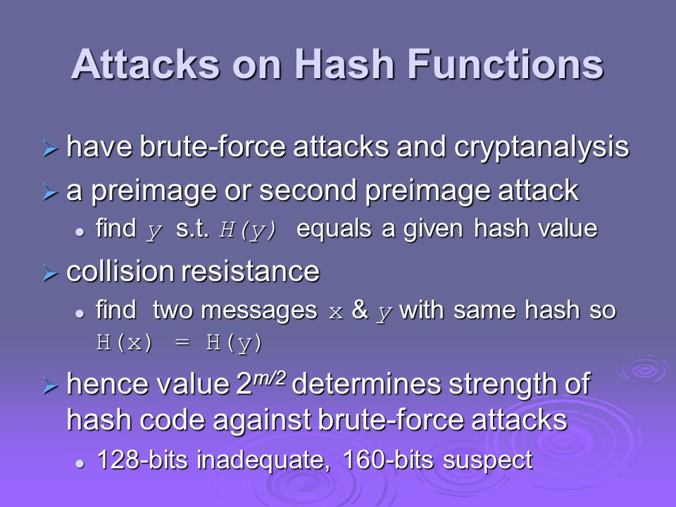 Secure Hash Algorithm  SHA originally designed by NIST & NSA in 1993  was revised in 1995 as SHA-1  US standard for use with DSA signature scheme  standard is FIPS 180-1 1995, also Internet RFC3174  nb.