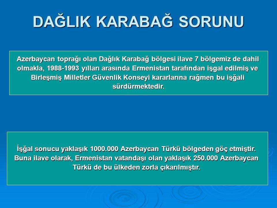 DAĞLIK KARABAĞ SORUNU Azerbaycan toprağı olan Dağlık Karabağ bölgesi ilave 7 bölgemiz de dahil olmakla, 1988-1993 yılları arasında Ermenistan tarafından işgal edilmiş ve Birleşmiş Milletler Güvenlik Konseyi kararlarına rağmen bu işğali sürdürmektedir.