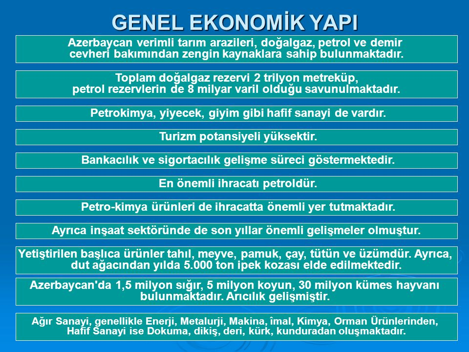 GENEL EKONOMİK YAPI Azerbaycan verimli tarım arazileri, doğalgaz, petrol ve demir cevheri bakımından zengin kaynaklara sahip bulunmaktadır.