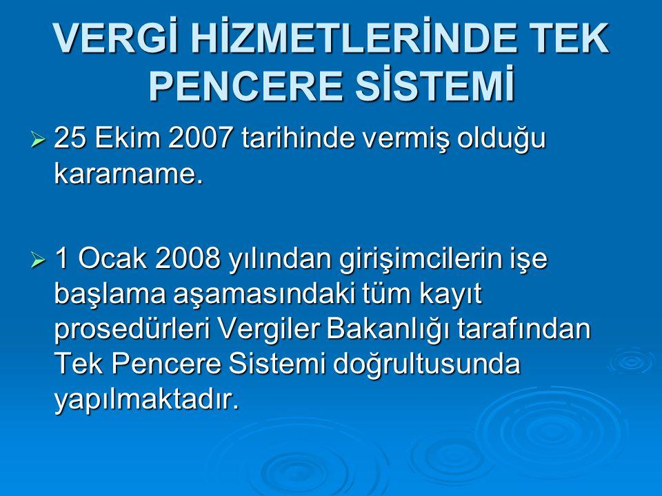 VERGİ HİZMETLERİNDE TEK PENCERE SİSTEMİ  25 Ekim 2007 tarihinde vermiş olduğu kararname.
