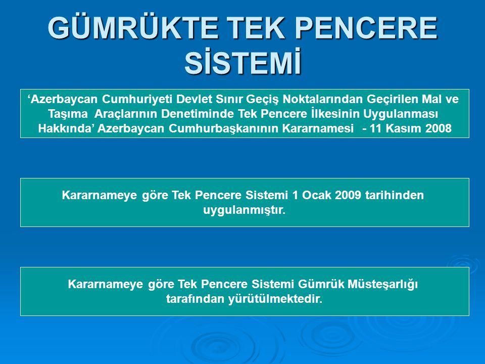 GÜMRÜKTE TEK PENCERE SİSTEMİ 'Azerbaycan Cumhuriyeti Devlet Sınır Geçiş Noktalarından Geçirilen Mal ve Taşıma Araçlarının Denetiminde Tek Pencere İlkesinin Uygulanması Hakkında' Azerbaycan Cumhurbaşkanının Kararnamesi - 11 Kasım 2008 Kararnameye göre Tek Pencere Sistemi 1 Ocak 2009 tarihinden uygulanmıştır.