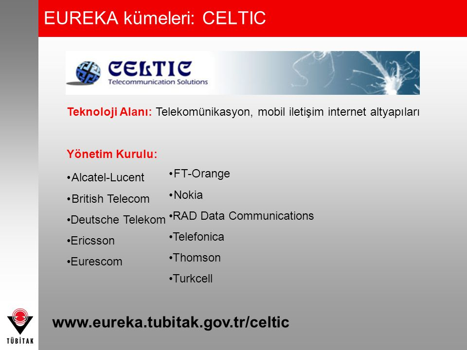EUREKA kümeleri: CATRENE Teknoloji Alanı: Mikro ve nano elektronik Kurucu Firmalar: Alcatel-Lucent EADS ASML Carl Zeiss STMicroelectronics Thomson Robert Bosch Infineon Technologies Bull ASM International NXP Semiconductors www.eureka.tubitak.gov.tr/catrene