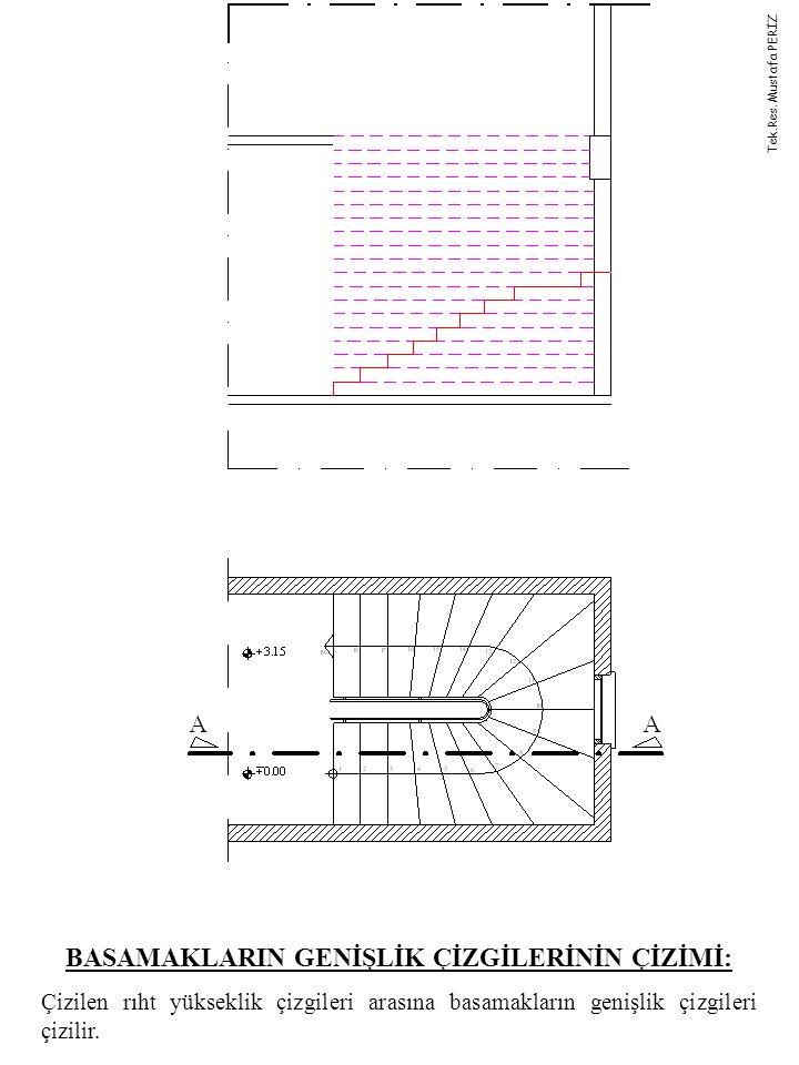 MERDİVEN KOLUNUN BETON KALINLIĞININ ÇİZİMİ: Merdiven kolunun beton kalınlığı çizilir.