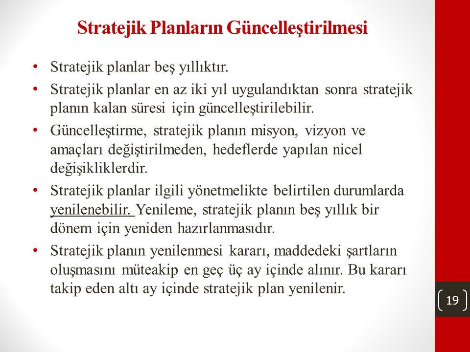 19 Stratejik Planların Güncelleştirilmesi • Stratejik planlar beş yıllıktır.