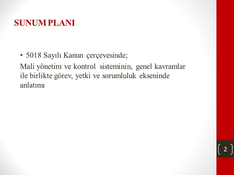 2 SUNUM PLANI • 5018 Sayılı Kanun çerçevesinde; Mali yönetim ve kontrol sisteminin, genel kavramlar ile birlikte görev, yetki ve sorumluluk ekseninde anlatımı