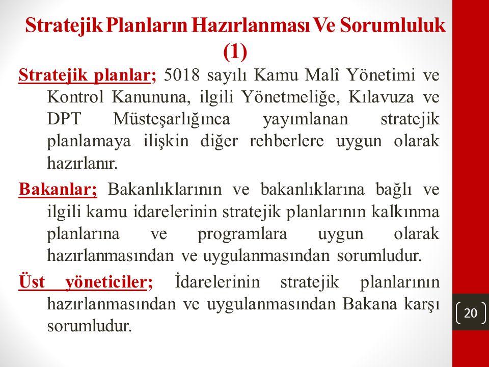 20 Stratejik Planların Hazırlanması Ve Sorumluluk (1) Stratejik planlar; 5018 sayılı Kamu Malî Yönetimi ve Kontrol Kanununa, ilgili Yönetmeliğe, Kılavuza ve DPT Müsteşarlığınca yayımlanan stratejik planlamaya ilişkin diğer rehberlere uygun olarak hazırlanır.
