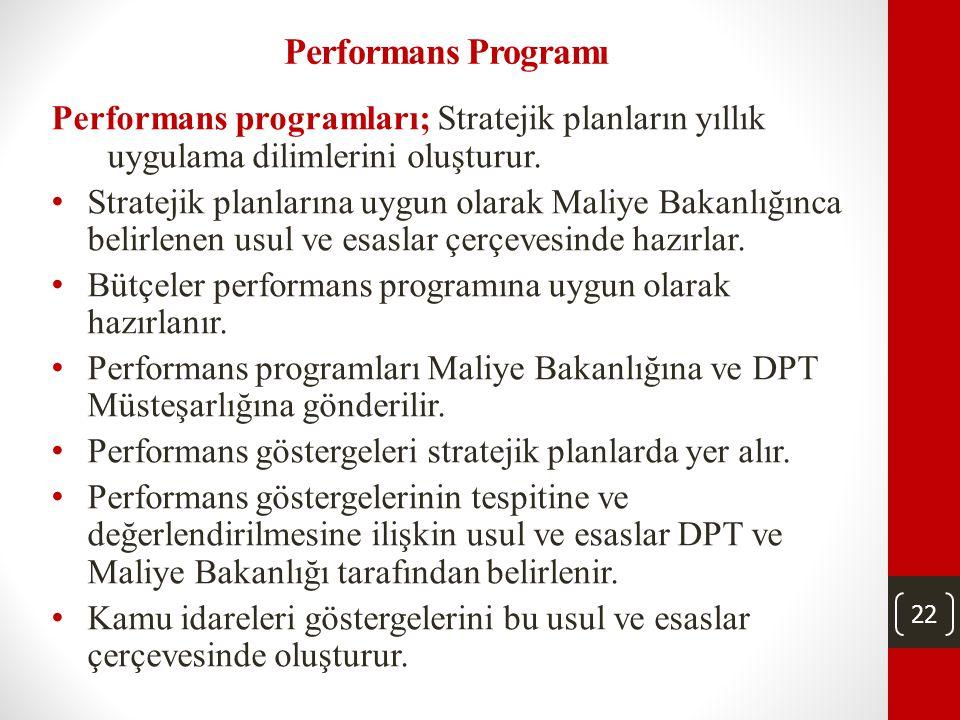 22 Performans Programı Performans programları; Stratejik planların yıllık uygulama dilimlerini oluşturur.