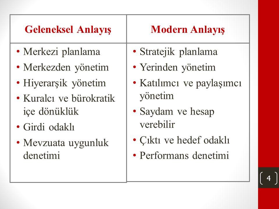 4 • Merkezi planlama • Merkezden yönetim • Hiyerarşik yönetim • Kuralcı ve bürokratik içe dönüklük • Girdi odaklı • Mevzuata uygunluk denetimi • Stratejik planlama • Yerinden yönetim • Katılımcı ve paylaşımcı yönetim • Saydam ve hesap verebilir • Çıktı ve hedef odaklı • Performans denetimi Geleneksel AnlayışModern Anlayış